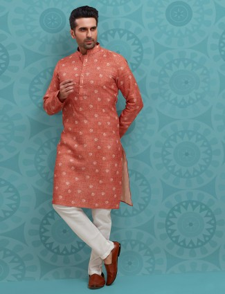 Peach printed kurta suit for festive in cotton