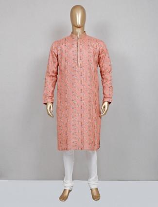 Peach printed silk mens kurta suit