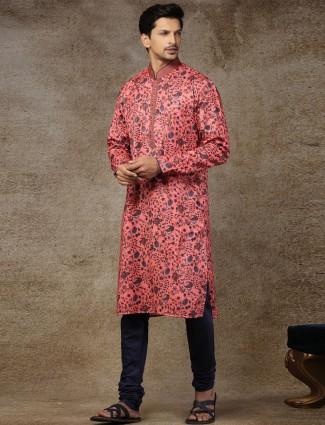 Peach printed silk stand collar kurta suit