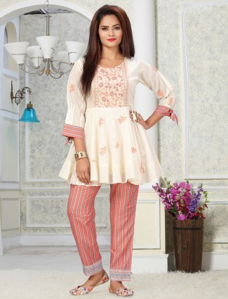Peach punjabi style pant suit for casual in cotton