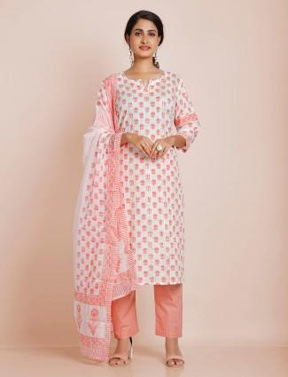 Peach punjabi style printed cotton festive wear pant suit