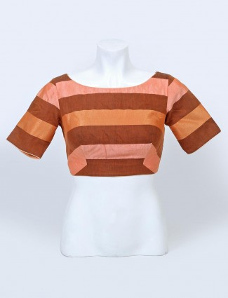 Peach raw silk designer readymade blouse