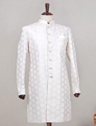 Peach raw silk designer wedding wear indowestern sherwani