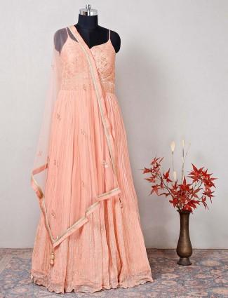 Peach raw silk designer wedding wear salwar kameez