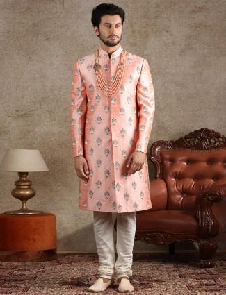 Peach raw silk fabric sherwani for wedding