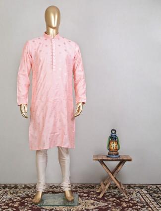 Peach raw silk festive wear men kurta