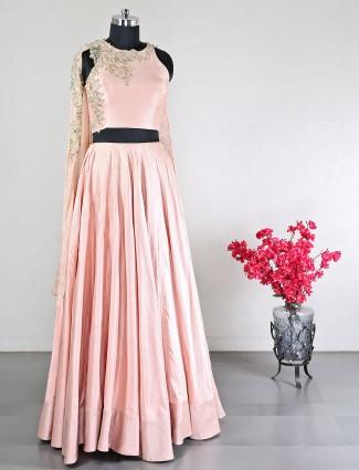 Peach raw silk ideal for wedding lehenga choli