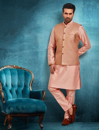 Peach raw silk mens waistcoat set