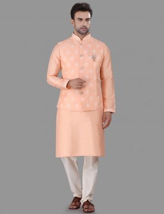 Peach raw silk waistcoat set