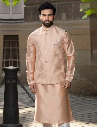 Peach raw silk waistcoat set for parties