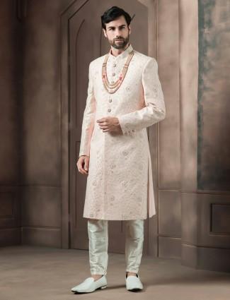 Peach raw silk wedding sherwani for groom