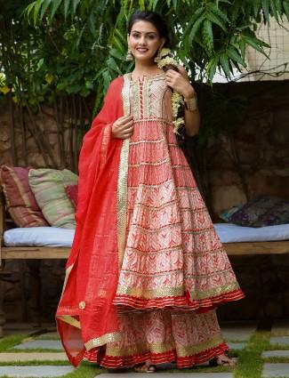 Peach rich cotton festive wear punjabi anarkali style sharara suit