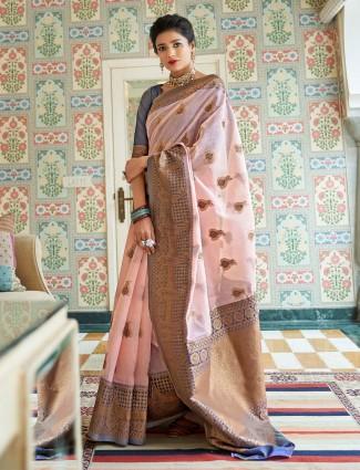 Peach saree in cotton linen for festival