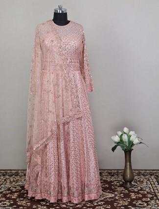 Peach shade wedding wear anarkali dress for womens in georgette