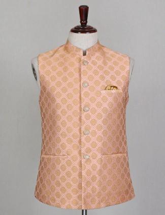 Peach silk mens party wear waistcoat