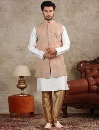 Peach silk mens waistcoat set for wedding