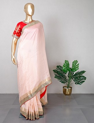 Peach silk saree for women with ready made blouse