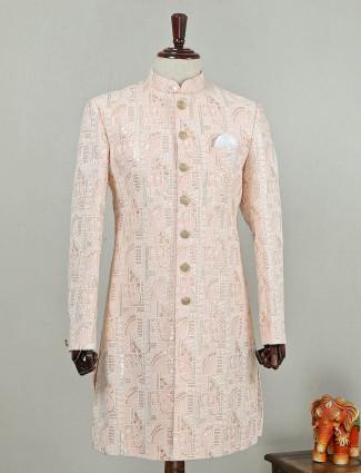Peach silk wedding wear indo western
