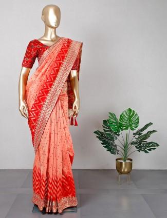 Peach patola silk wedding wear sari