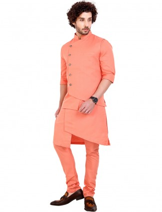 Peach solid cotton waistcoat set for mens