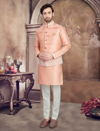 Peach solid waistcoat set for mens