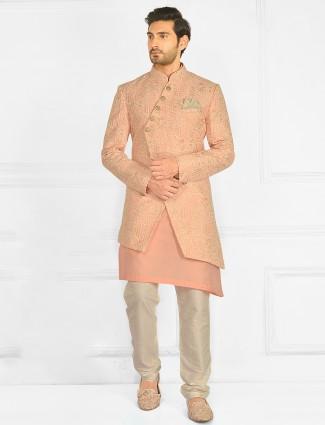 Peach wedding wear indo-western suit for mens