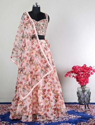 Peach wedding wear lehenega with thread details
