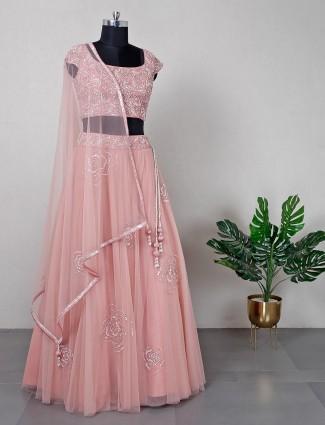 Peach wedding wear net lehenga choli