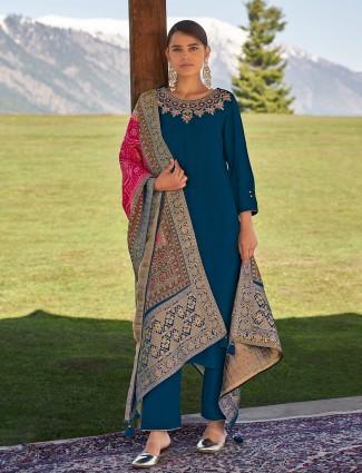 Peacock blue cotton punjabi style festive occasions pant suit
