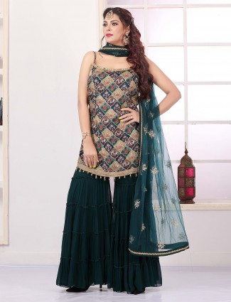 Peacock blue designer sharara suit for pretty women