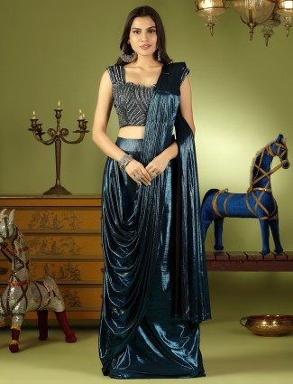 Peacock blue tint ready to wear saree with ready made blouse