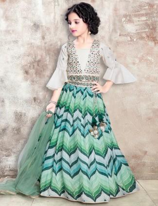 Peacock green zig zag raw silk lehenga choli for girls