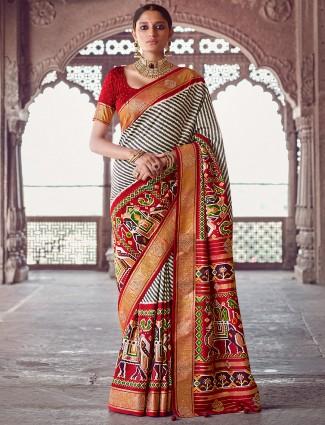 Pearl white patola silk wedding occasions saree