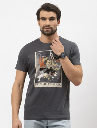 Pepe printed cotton casual wear t-shirt in grey