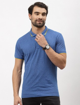 Pepe blue solid casual wear cotton t-shirt