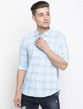 Pepe Jeans checks cotton light blue shirt