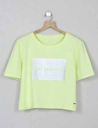 Pepe Jeans lime yellow cotton casual top