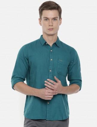 Pepe Jeans linen rama green solid shirt