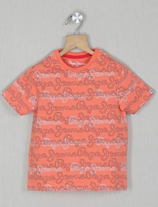 Pepe jeans orange shade printed casual t-shirt