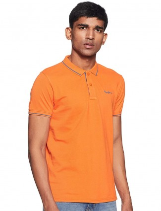 Pepe Jeans orange solid polo t-shirt