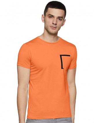Pepe Jeans orange solid slim fit t-shirt