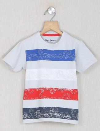 Pepe jeans printed grey shade cotton t-shirt