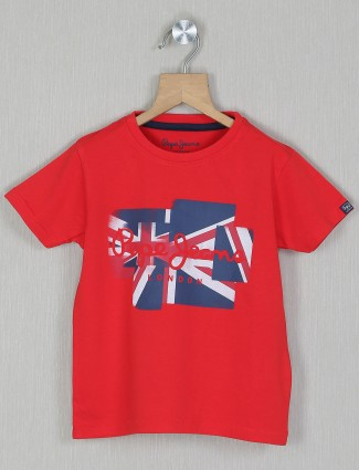 Pepe jeans printed style red t-shirt in cotton
