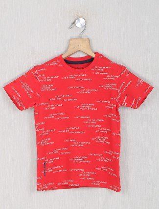 Pepe jeans red shade cotton t-shirt for boys
