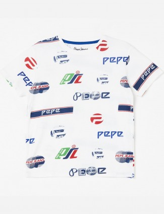 Pepe Jeans round neck white printed t-shirt