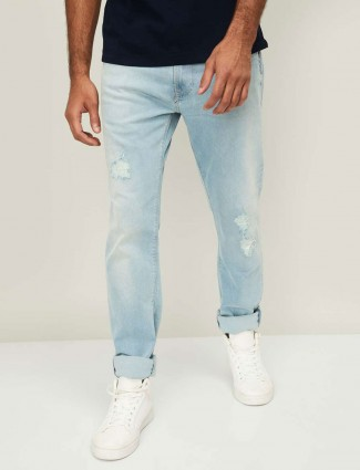 Pepe Jeans simple light blue ripped washed jeans