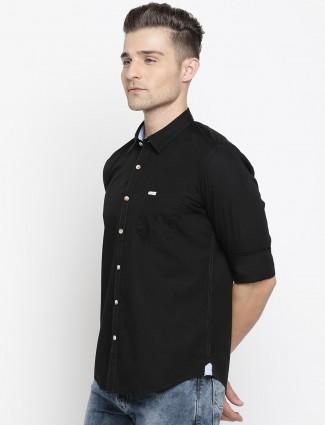 Pepe Jeans slim fit black solid shirt