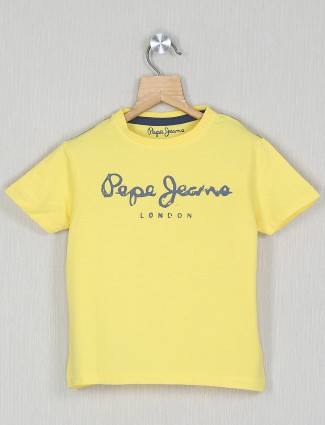 Pepe jeans solid style yellow t-shirt in cotton
