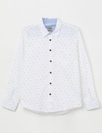 Pepe Jeans white casual wear printed shirt