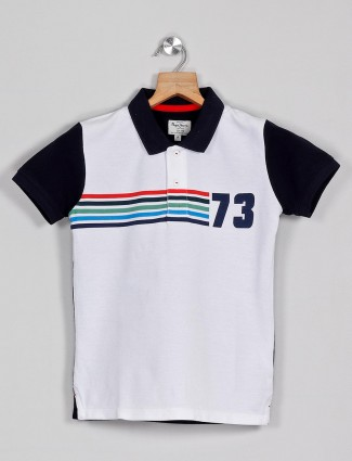 Pepe Jeans white printed slim fit polo t-shirt